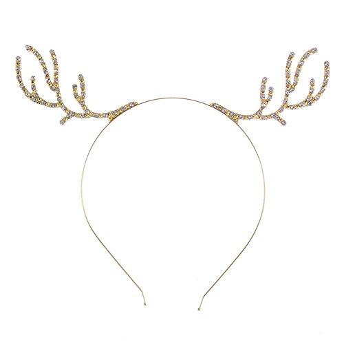(Women Girls Rhinestone Alloy Deer Horn Antler Headband Kid DIY Christmas Gift Party Headbands)