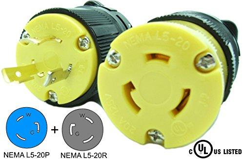 (Journeyman-Pro 20 Amp, Plug & Connector Set, NEMA L5-20R & L5-20P, 125V, Locking Plug Socket, Black Industrial Grade, Grounding 2500 Watts Generators (L5-20PR PLUG SET))