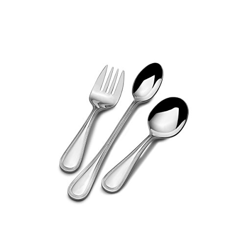 Steel Feeding Set (Mikasa Beaded 3-Piece Stainless Steel Baby Feeding Set)
