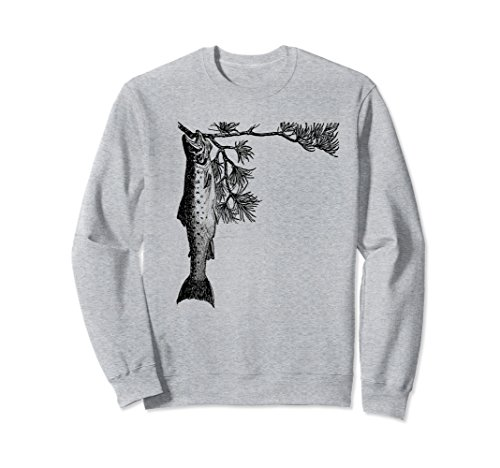 Unisex Retro Fish Sweatshirt - Vintage Trout Fishing Tree Pine XL: Heather Grey (Fish Adult Sweatshirt)