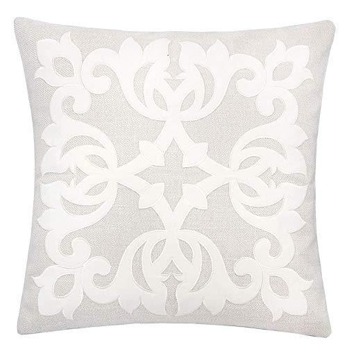 - Homey Cozy Ecru Throw Pillow Cover,Large Premium Applique Lima Floral Linen Sofa Couch Pillowcase Modern Home Decor 20x20,Cover Only