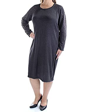 Womens Plus Studded Long Sleeves Sweaterdress