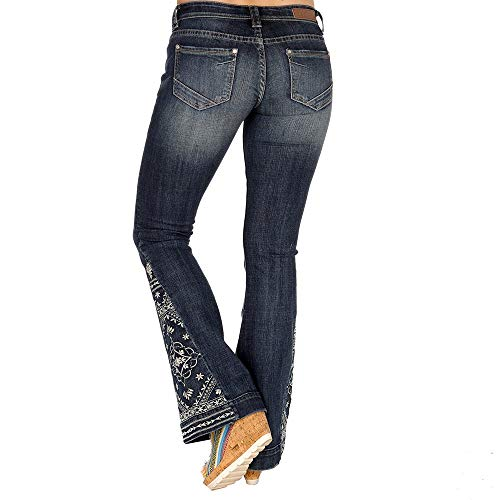 Rock N Roll Cowgirl Womens Vintage Embroidered Trouser Jeans 25x38 Denim
