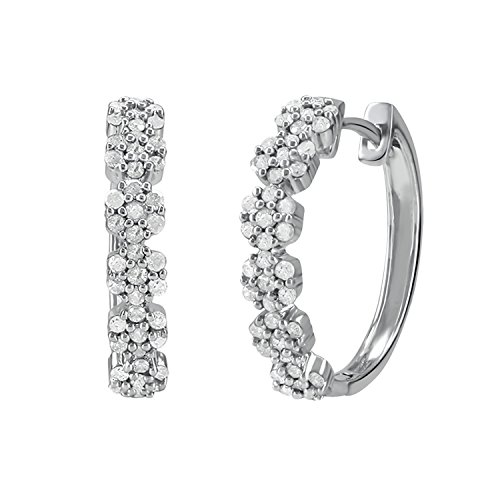 Christmas Gifts Earrings for Women : .925 Sterling Silver 1/2 Carat Natural Real Round Diamonds Small Floral Cluster Prong Setting Huggie Back Omega Hoop Earrings (0.50cttw, I-J Color, I2-I3 Clarity) by Store Indya Jewelry