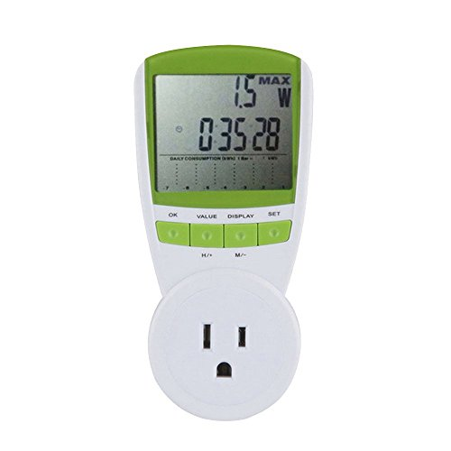 Cideros Universal Plug-in Energy Meter Voltage Amps Power Monitor Wattage Volt Hz Analyzer Watt Electricity Usage Monitor with LCD Digital Display to Reduce Energy Costs, US Plug 120V/15A]()