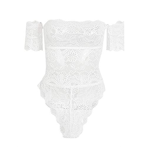 (2018 Sexy Lingerie Hot Erotic Lace Off Shoulder Strapless Bra Mini Skirt Panties Babydoll Nightgown Backless Sleepwear,White,M)