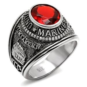 Marine Corps Ring (Marines Ring Men's Stainless Steel United States Red Oval Synthetic Glass Stone Marine Corps Ring)