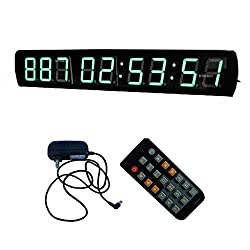 4'' 9 Digits Green Large LED Countdown Timer Count Down/Up Days With Remote Control