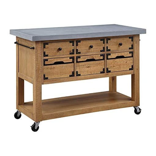 Kitchen OSP Home Furnishings Charlotte Kitchen Island with Cement Grey Top modern kitchen islands and carts