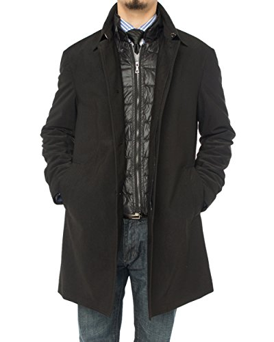 Button Black Worsted Wool Suit - LN LUCIANO NATAZZI Men's Modern Fit Insulated Lining Walker Coat (44 US - 54 EU, Black)