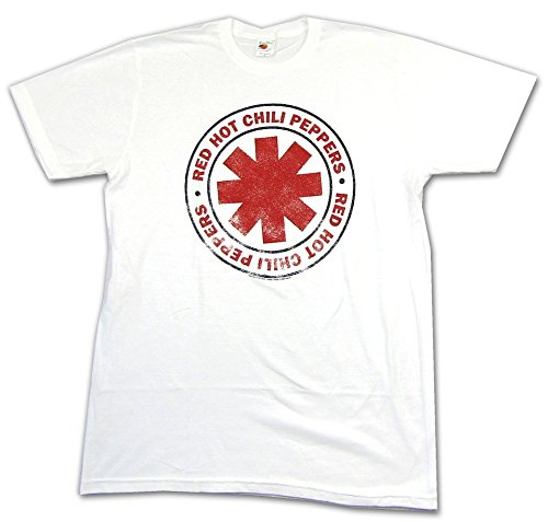 Red Hot Chili Peppers Vintage Asterisk White T Shirt (L) (Rock Band Red Hot Chili Peppers Dlc)