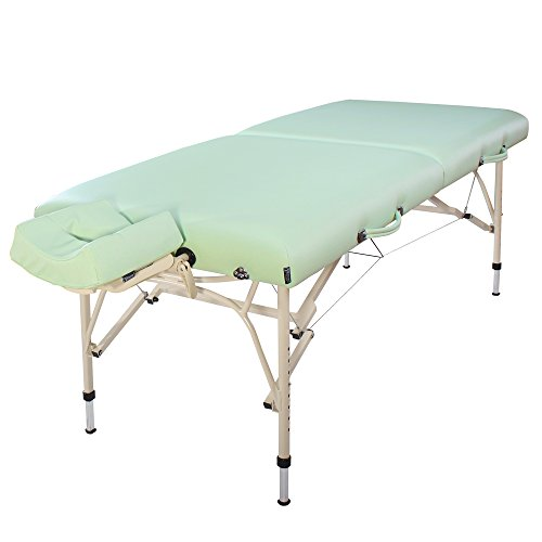 Master Massage 30'' Bel Air Ultra Light Weight Aluminum Portable Massage Table Package,Lily Green