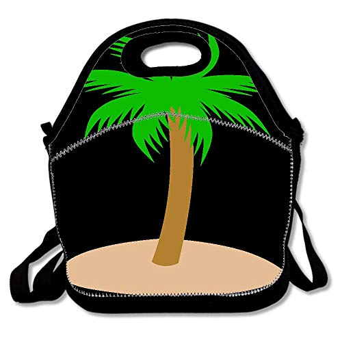 Sand Clipart Palm Tree StrapLunch Bag for Women Insulated Lunch Box with Adjustable Shoulder Strap, Lunch Tote Bag for Work Picnic