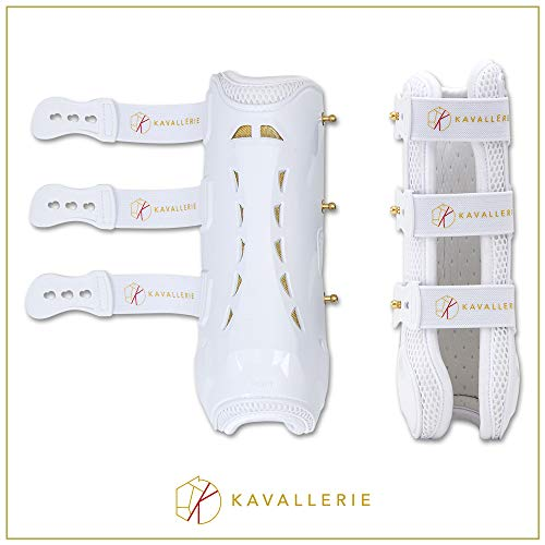 Horse Tendon Boots by Kavallerie: Pro-K 3D Air-Mesh Horse Boots, Showjumping, Horse Jumping Boots, Lightweight with Breathable Soft Padding for Less Sweat and Rubs [White]