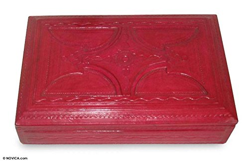 NOVICA Wood Leather Jewelry Box, Red 'African Star' by NOVICA