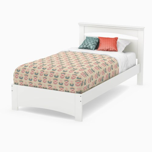 (South Shore Libra Bed & Headboard Set, Twin 39-Inch, Pure White)