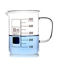 Glass Beaker Mug Cup With Handle 3.3 Borosilicate Glass Lab Glassware Clear ,All Size Available in Store (500ml)