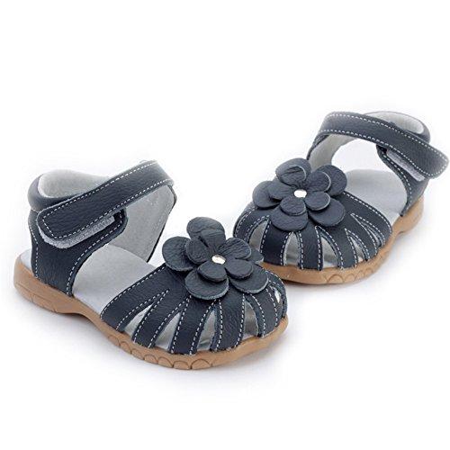 Oderola Mädchen Sommer Sandale mit weichen Sohlen Baby Leder Lauflernschuhe tiefes Blau