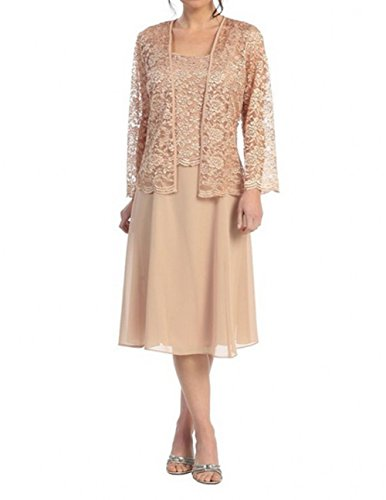 Buy gold tea length mother of the bride dress - 6