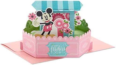Hallmark Paper Wonder Pop Up Mothers Day Card (Mickey Mouse Flower Cart)