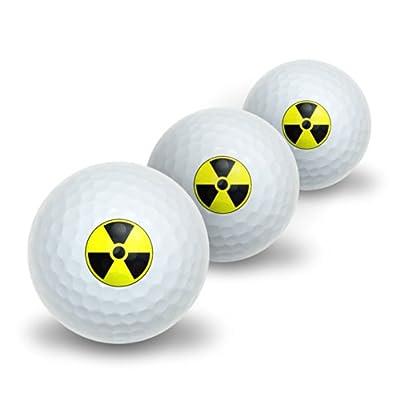 Radioactive Nuclear Warning Symbol Novelty Golf Balls 3 Pack