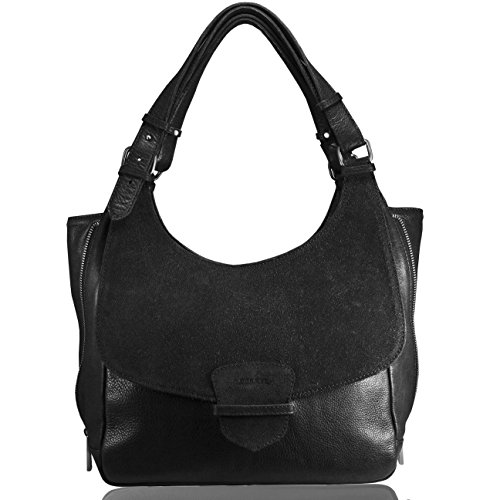 Large Hombro Hecho Piel Women Cartera Italia Leather Handbags En Negro Cuero FERETI Bolso Bolsa Mujer De axTO8U