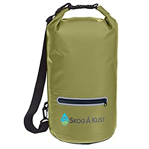 DrySak Premium Waterproof Dry Bag with Exterior Zip Pocket | Keeps Gear Safe & Dry During Watersports & Outdoor Activities | Rugged 500D PVC with Shoulder Strap & Reflective Trim | 20L Army Green