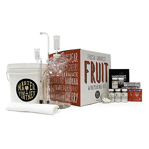 Make Homemade Wine - Master Vintner Fresh Harvest 1 Gallon Homemade Small Batch Fruit Wine Making Kit - 2 Gallon Plastic Fermentor With Lid Equipment