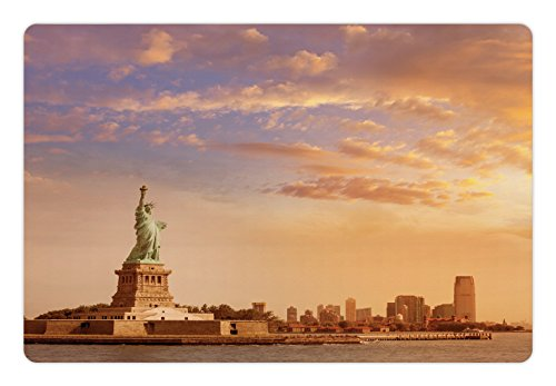 Freedom Sculpture - Ambesonne Sculptures Pet Mat for Food and Water, Statue of Liberty American Freedom Symbol on NYC Sunset with River Skyscraper, Rectangle Non-Slip Rubber Mat for Dogs and Cats, Yellow White