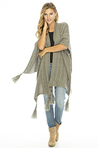 Back From Bali Wrap Cable Grey Knit Wrap Shawl Long Poncho Sweater Boho Soft Tassel Fringe