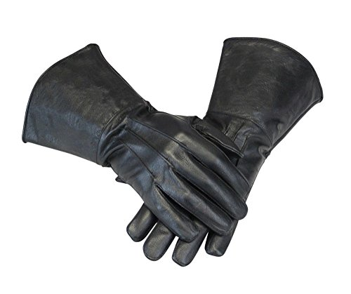 Leather Gauntlet Gloves Long Arm Cuff (Large, Black)