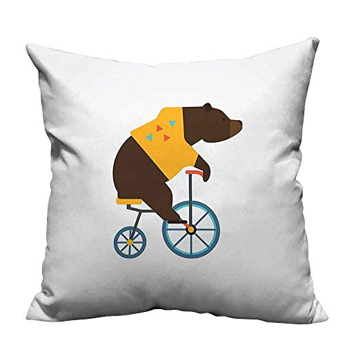 YouXianHome Sofa Waist Cushion Cover Teddy Bear Circus Rid Trendy Hipster Costume Image Brown Yellow Decorative for Kids Adults(Double-Sided Printing) 19.5x54 inch -