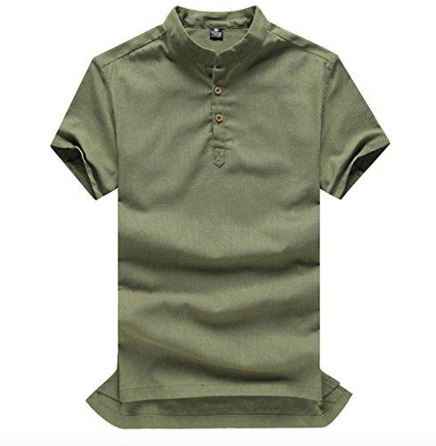 Wslcn Col Shirt Artmée Mandarin Vert En Courtes Lin Manches Homme Henley rqFECwr0