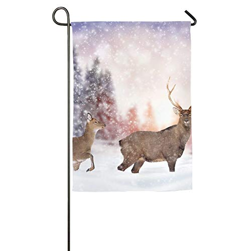 AshleyLM Welcome Garden Flag Close Young Deer in Nature Winter Time Summer Burlap Yard Decor,12x18/27x37 -