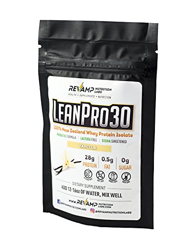 Sample Packs - LeanPro30™100% All-Natural New Zealand Grass-Fed Whey Isolate Protein with Probiotics. Gluten-Free - Lactose-Free - Non-GMO - Sugar-Free Protein (Vanilla)