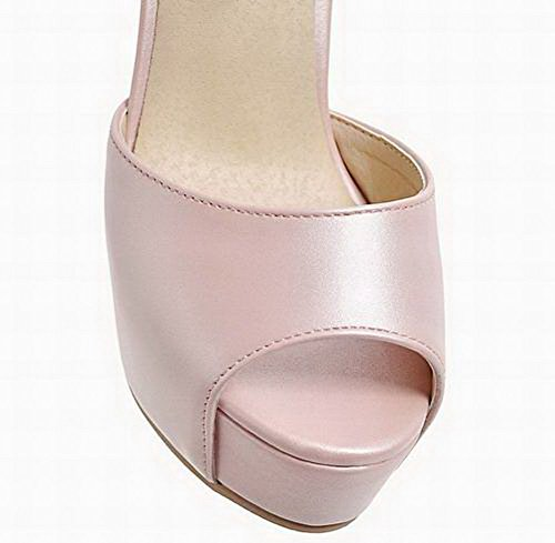 Open High Pu Women's EGHLH006375 Toe Sandals WeiPoot Buckle Pink Solid Heels WUSxn