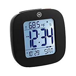 Marathon Small Compact Alarm Clock with Repeating Snooze, Light, Date and Temperature. Batteries Included Travel Collection - CL030058BK (Black)