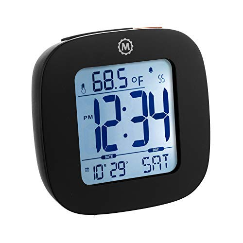 Marathon CL030058BK Small Compact Alarm Clock with Repeating Snooze, Light, Date and Temperature Travel Collection. Batteries Included. Color - Black.