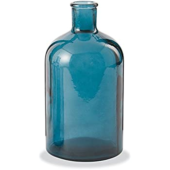 Mud Pie Spanish Recycled Glass Vase, One Size, Blue