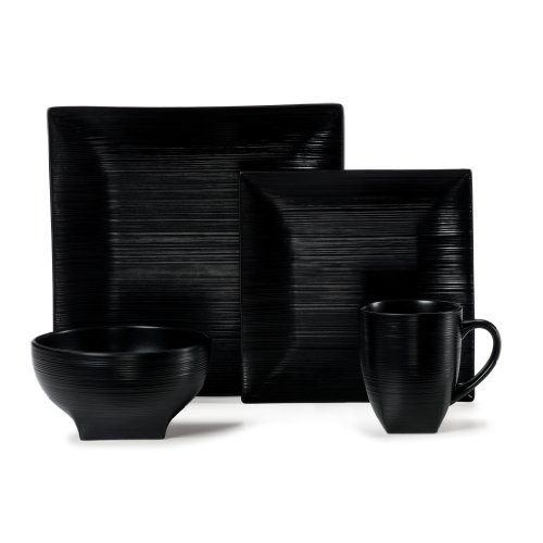 (Mikasa Stone Ridge Black 4-Piece Place Setting)
