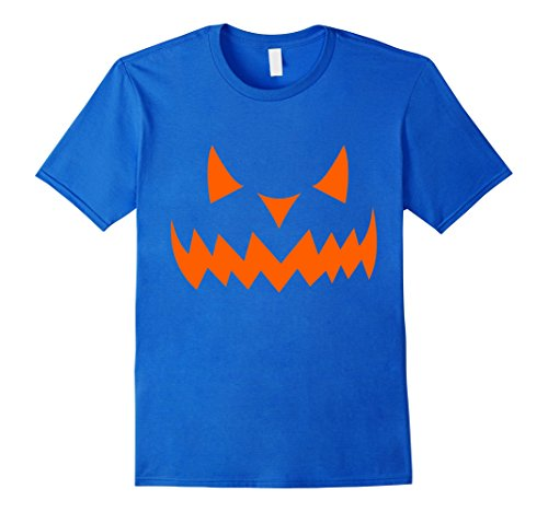 Mens Scary Halloween Pumpkin T-Shirt _ Neon Orange Glow 3XL Royal (Awesome Pumpkin Designs Halloween)