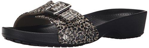 Crocs Women's Sarah Leopard Sandal Black 6 W