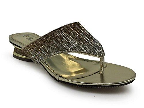 Enzo Romeo Disley03 Donna Classico Elegante Tacco Basso Sandali Infradito Sandalo Strass Piattaforma Di Partito Di Nozze Scarpe Con Zeppa Oro