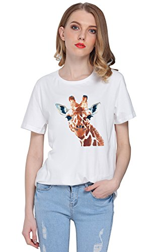 So'each Women's Animal Giraffe Graphic Printed Tee T-shirt Tops