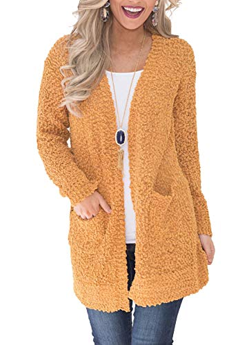 Ru Sweet Women's Long Sleeve Soft Chunky Knit Sweater Open Front Cardigan Outwear with Pockets Yellow