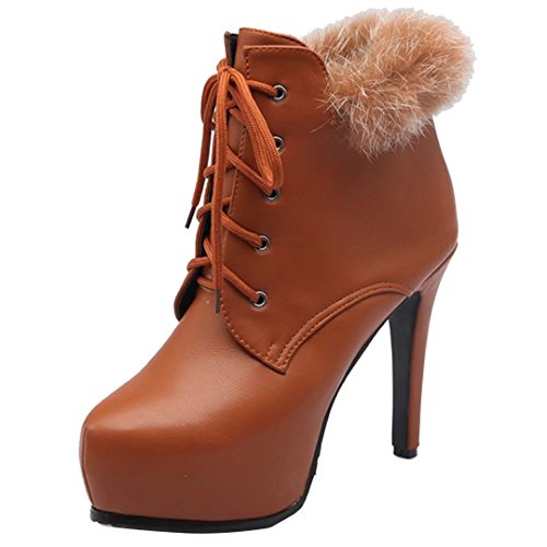 Ankle Yellow AIYOUMEI up with Lace Winter Round Stilettos Fur Autumn Toe Boots Women's UURqFc8