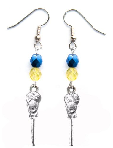 ''Lacrosse Stick & Ball'' Lacrosse Earrings (Team Colors Navy Blue & Gold) by Edge Sports