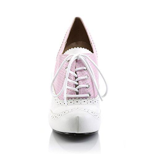 Pink Label Big Size Schnür Pumps Pinup-07 Laced Courts Übergröße babypink/weiß Babypink/Weiß