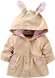 Evelin LEE Kids Girls Cute Spring Fall Outwear Jacket Hooded Windbreaker Trench Coat