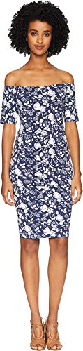 Nicole Miller Women's Off Shoulder Dress Blue/White Large (Bras Nicole Miller)